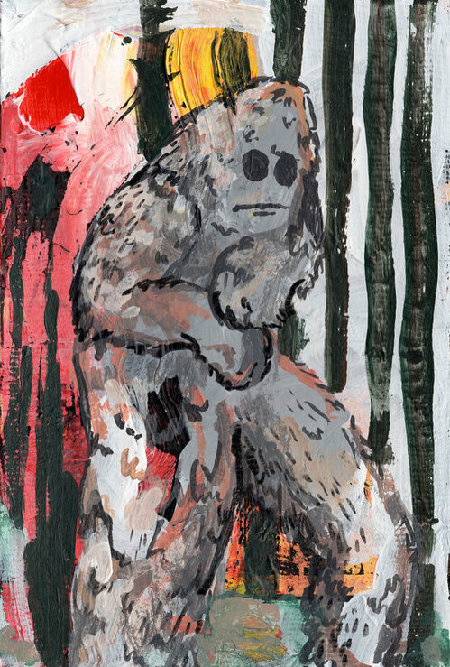 Possible Bigfoot Sighting  Jenni Dickens painting
